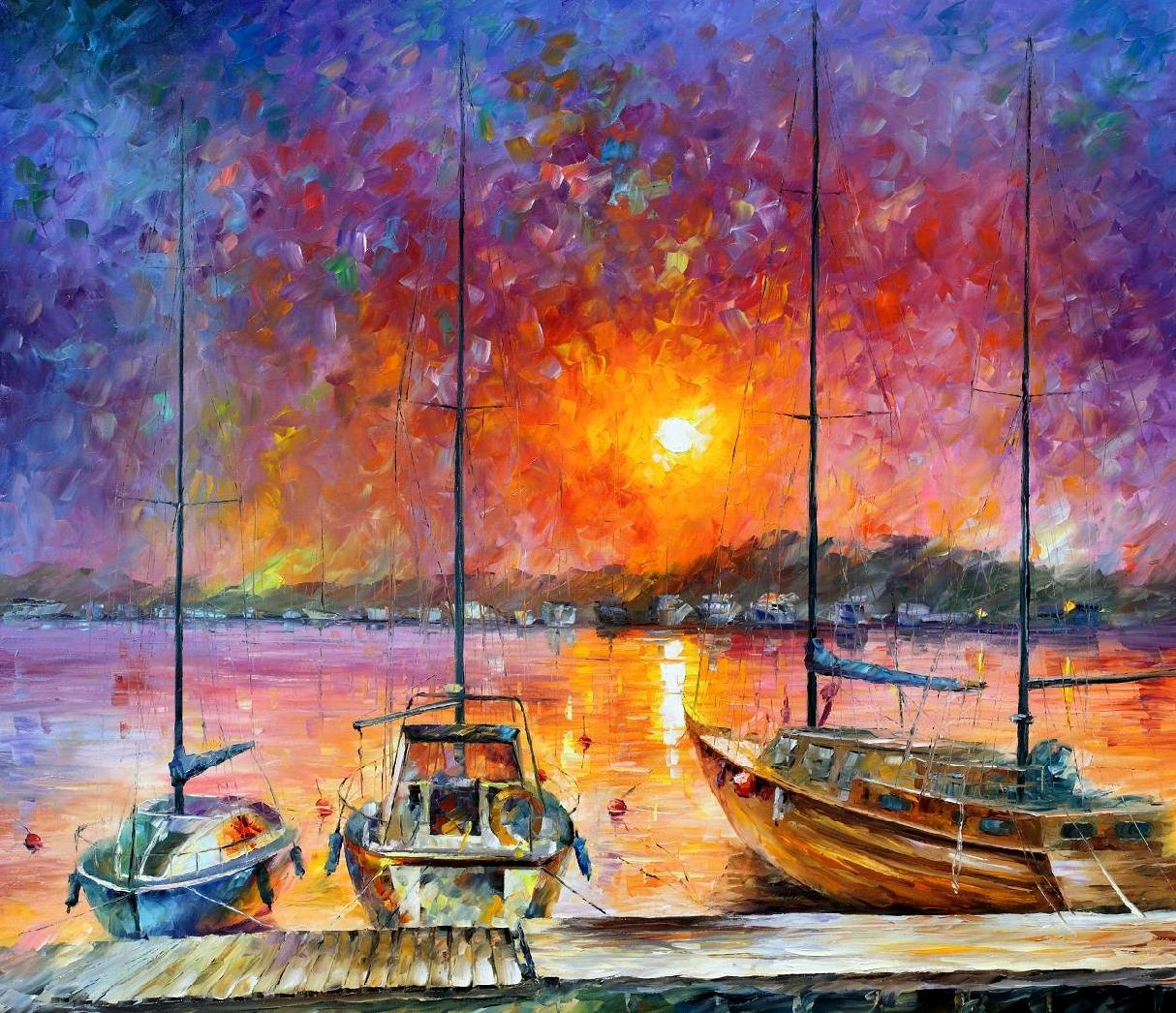 "SHIPS OF FREEDOM — PALETTE KNIFE Oil Painting On Canvas By Leonid Afremov - Size 36""x30"" (offer)"