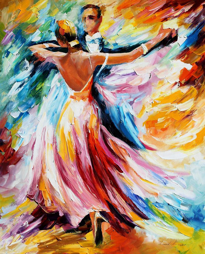 "WALTZ — Palette knife Oil Painting  on Canvas by Leonid Afremov  - Size 24""x30""(60cm x 75cm)  (CLONE)"