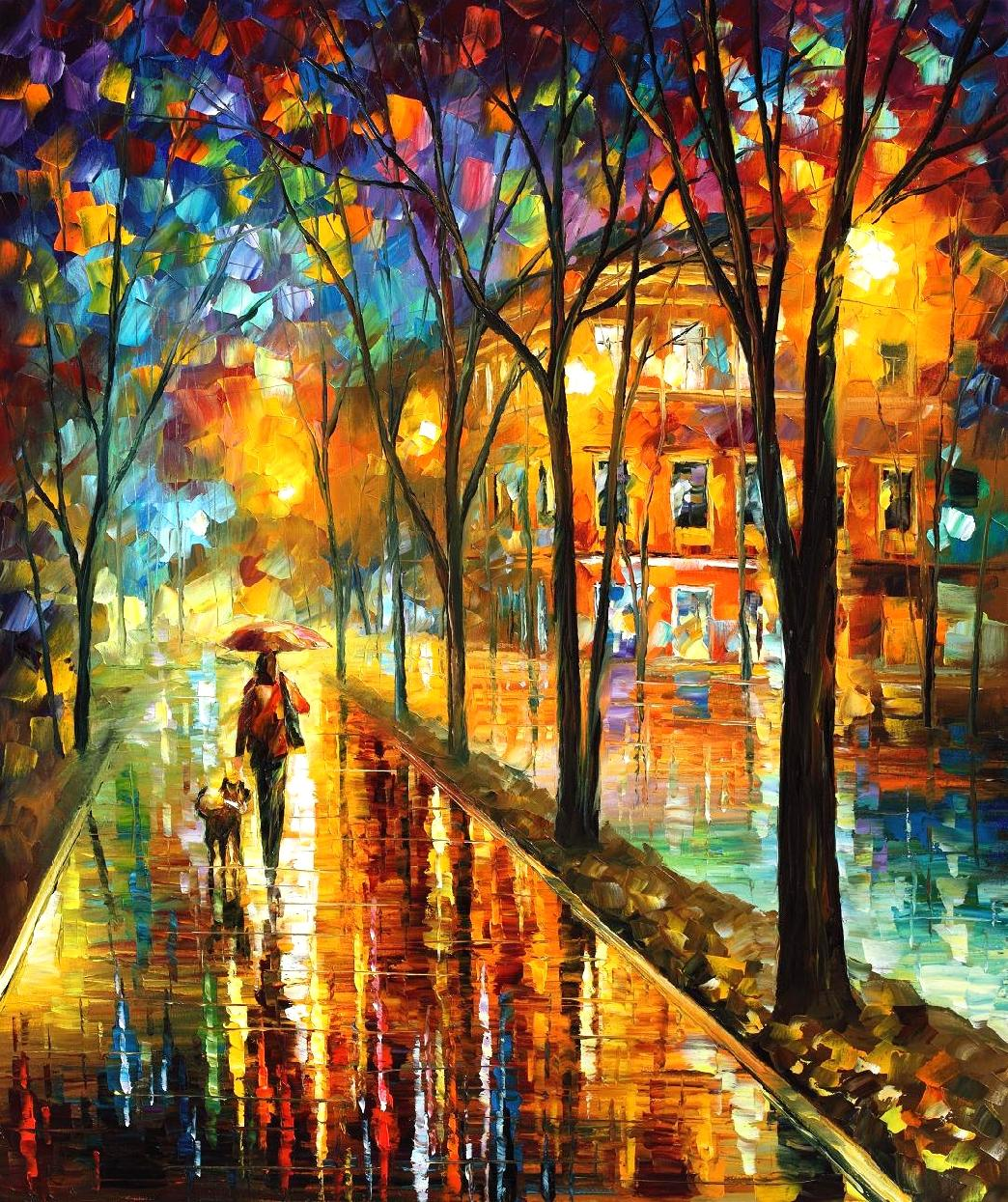 "WALK WITH DOG — PALETTE KNIFE Oil Painting On Canvas By Leonid Afremov - Size 30""x36"""