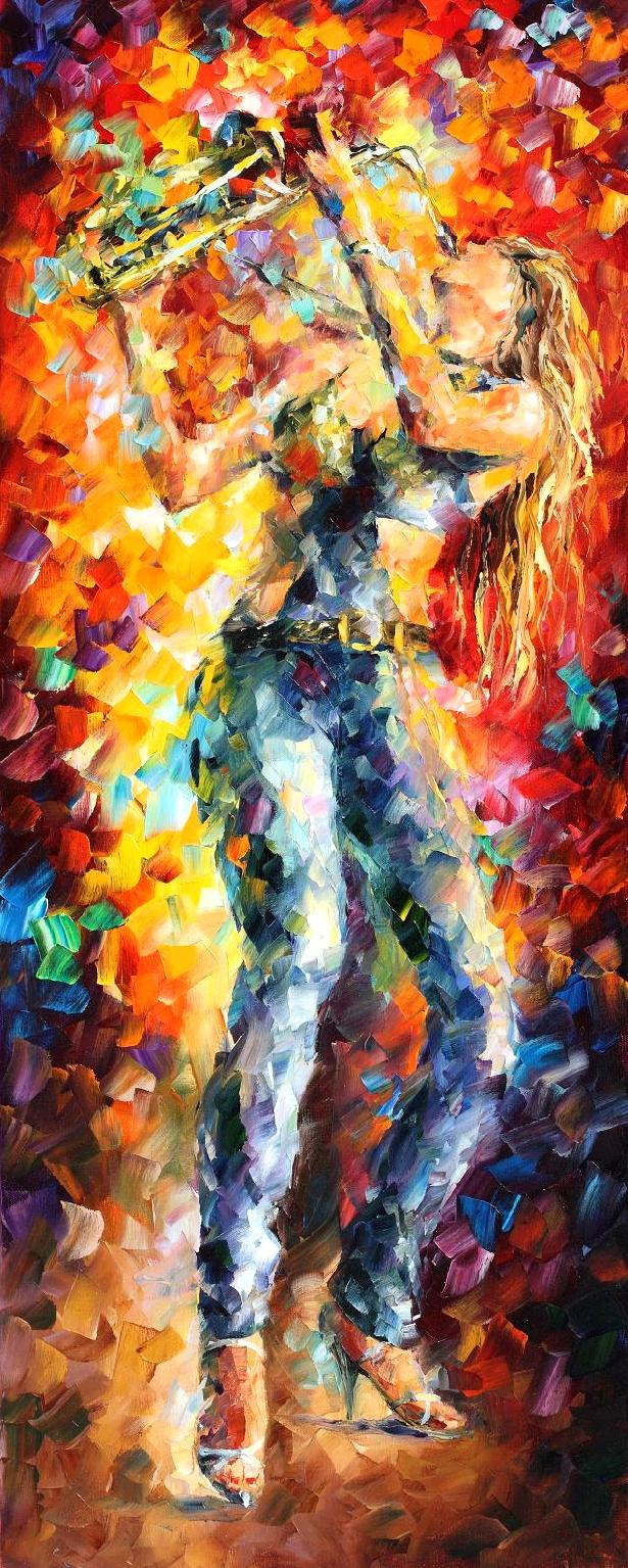 "CITY VIBES 1 - Palette Knife Oil Painting On Canvas By Leonid Afremov - 16""X40""   (40cm x 100cm) (offer)"