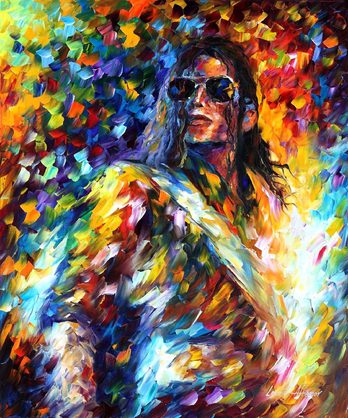 "MICHAEL JACKSON — PALETTE KNIFE Oil Painting On Canvas By Leonid Afremov - Size 30""x36"" (75cm x 90cm) (offer)"