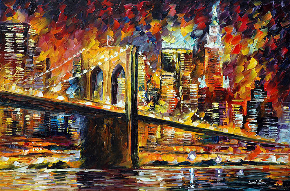 "BROOKLYN BRIDGE — PALETTE KNIFE Oil Painting On Canvas By Leonid Afremov - Size 36""x24"" (90cm x 60cm) (offer)"