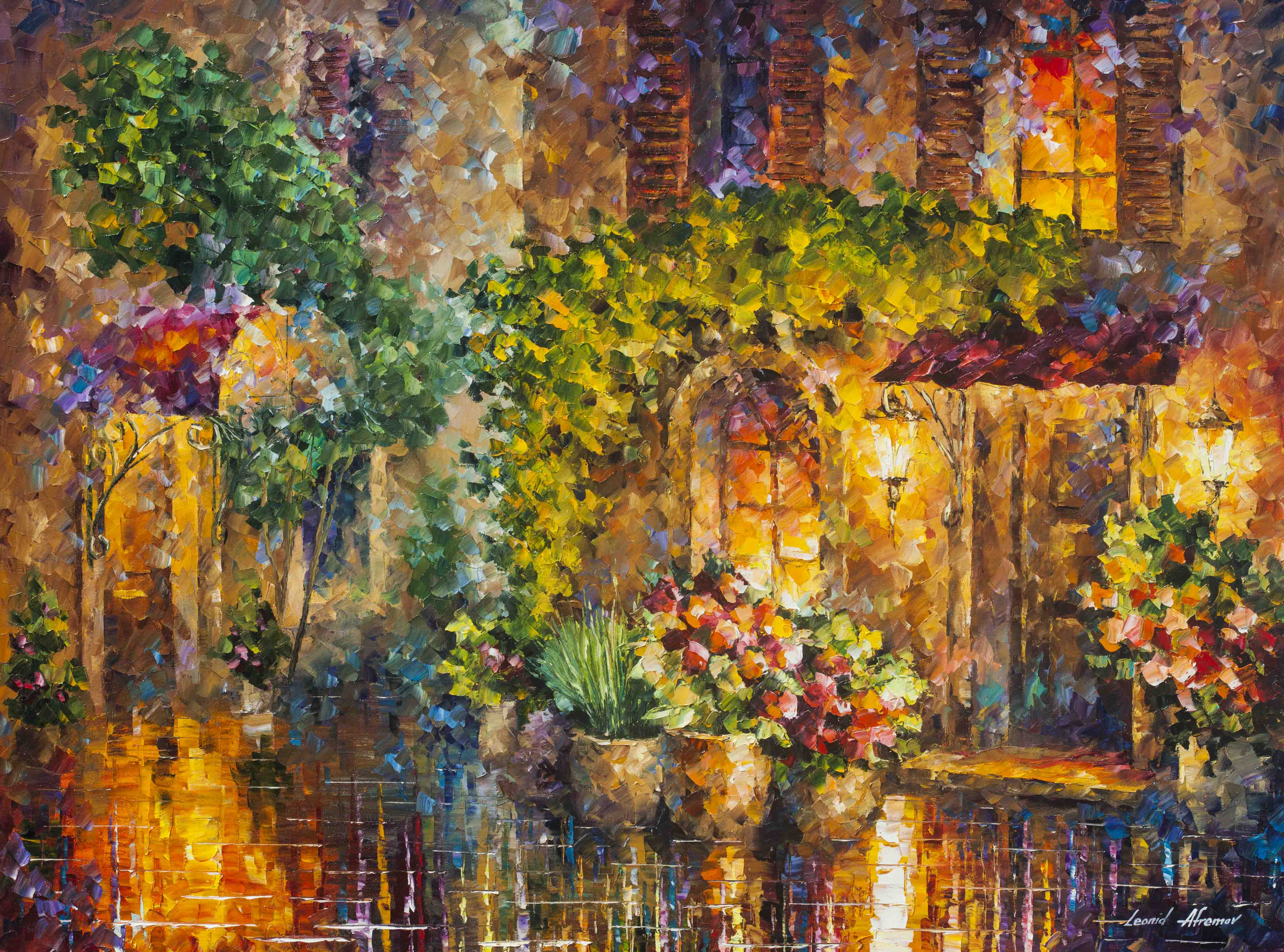 "NIGHT GARDEN  —  Original Oil Painting On Canvas By Leonid Afremov - Size 40""x30""  (100cm x 75cm)"