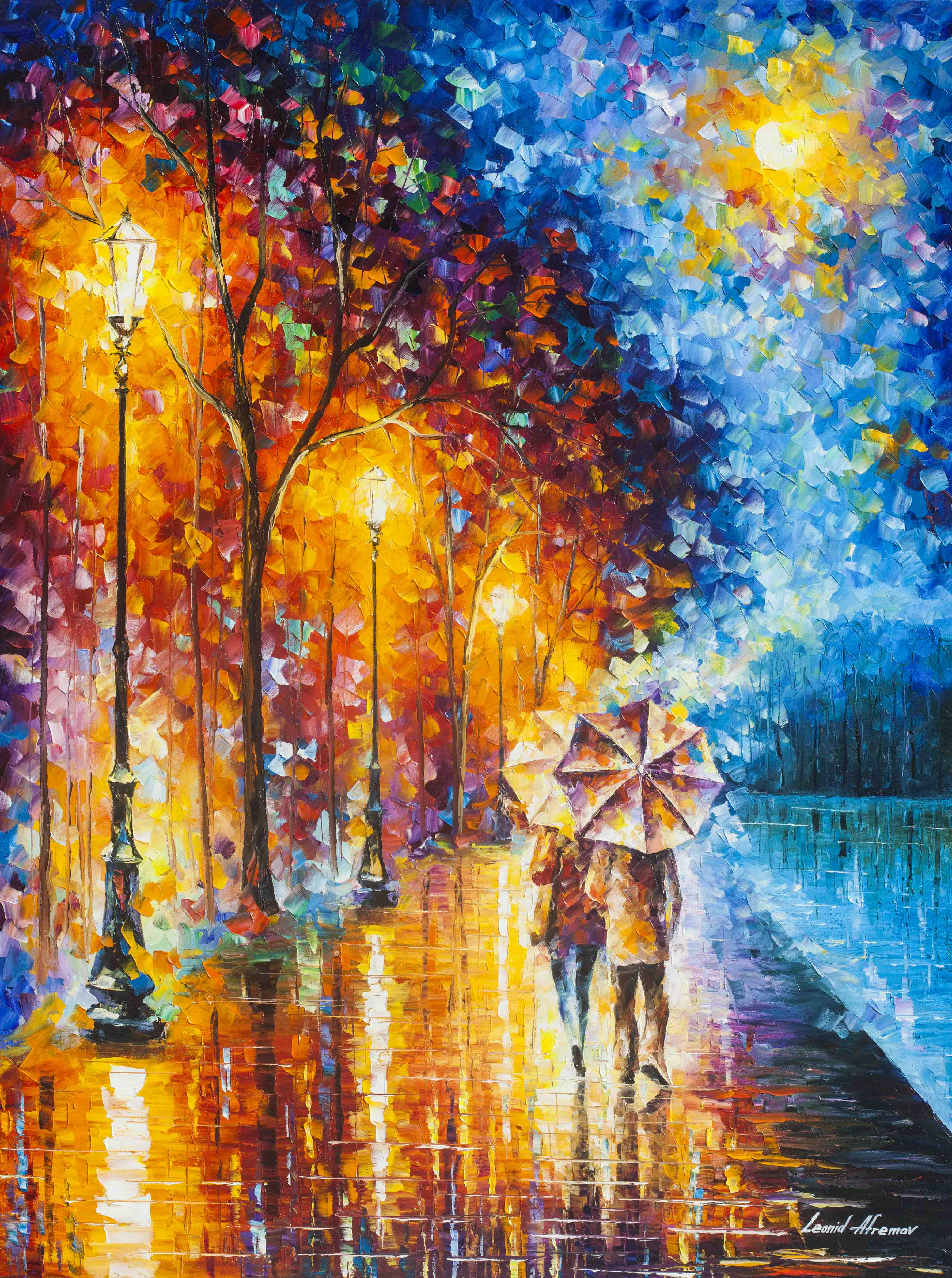 "LOVE BY THE LAKE 2 -  Original Oil Painting On Canvas By Leonid Afremov -  Size 30""X40"" (75cm x 100cm)"