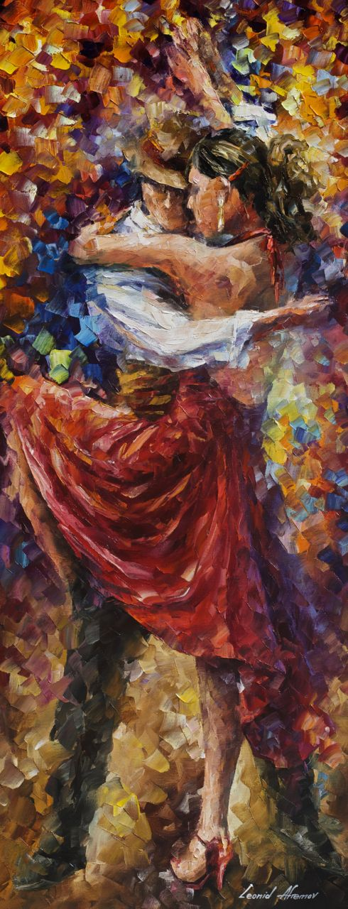 "TANGO OF MOVEMENT — Original Oil Painting  on Canvas by Leonid Afremov  - Size 16""x40"" (40cm x 100cm)"
