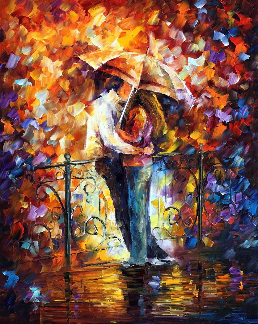 "KISS ON THE BRIDGE — Pintura Al Óleo con Espátula por Leonid Afremov - Medida 24""x30"" (60cm x 75 cm)"