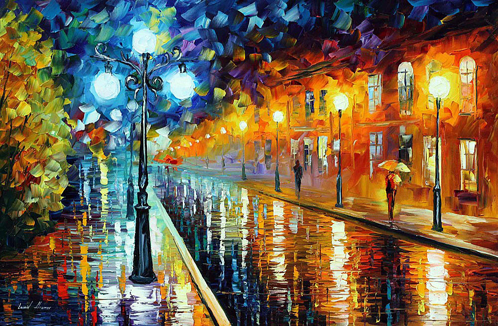 "BLUE LIGHTS — PALETTE KNIFE Oil Painting On Canvas By Leonid Afremov - Size 36""x24"" (90cm x 60cm) (offer)"