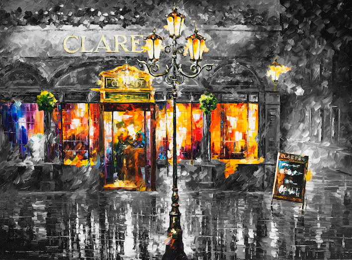 "MISTY CAFE —oil on canvas and limited edition  On Canvas By Leonid Afremov - Size 40""x30""  (100cm x 75cm)"
