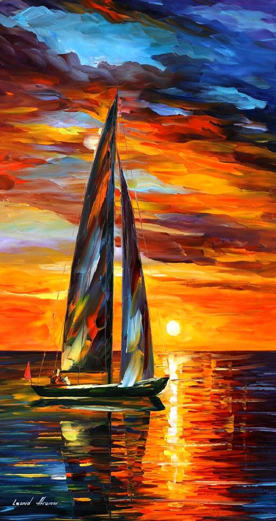 "SAILING WITH THE SUN — PALETTE KNIFE Oil Painting On Canvas By Leonid Afremov - Size 20""x36"" (offer)"