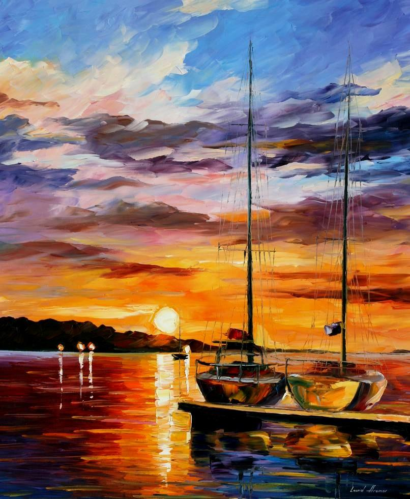 "BY THE DOCK — PALETTE KNIFE Oil Painting On Canvas By Leonid Afremov - Size 30""x36"" (75cm x 90cm) (offer)"