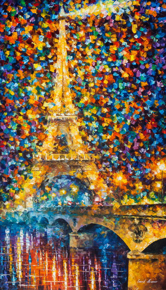 "PARIS OF MY HEART — PALETTE KNIFE Oil Painting On Canvas By Leonid Afremov - Size 24""X40""  (offer)"