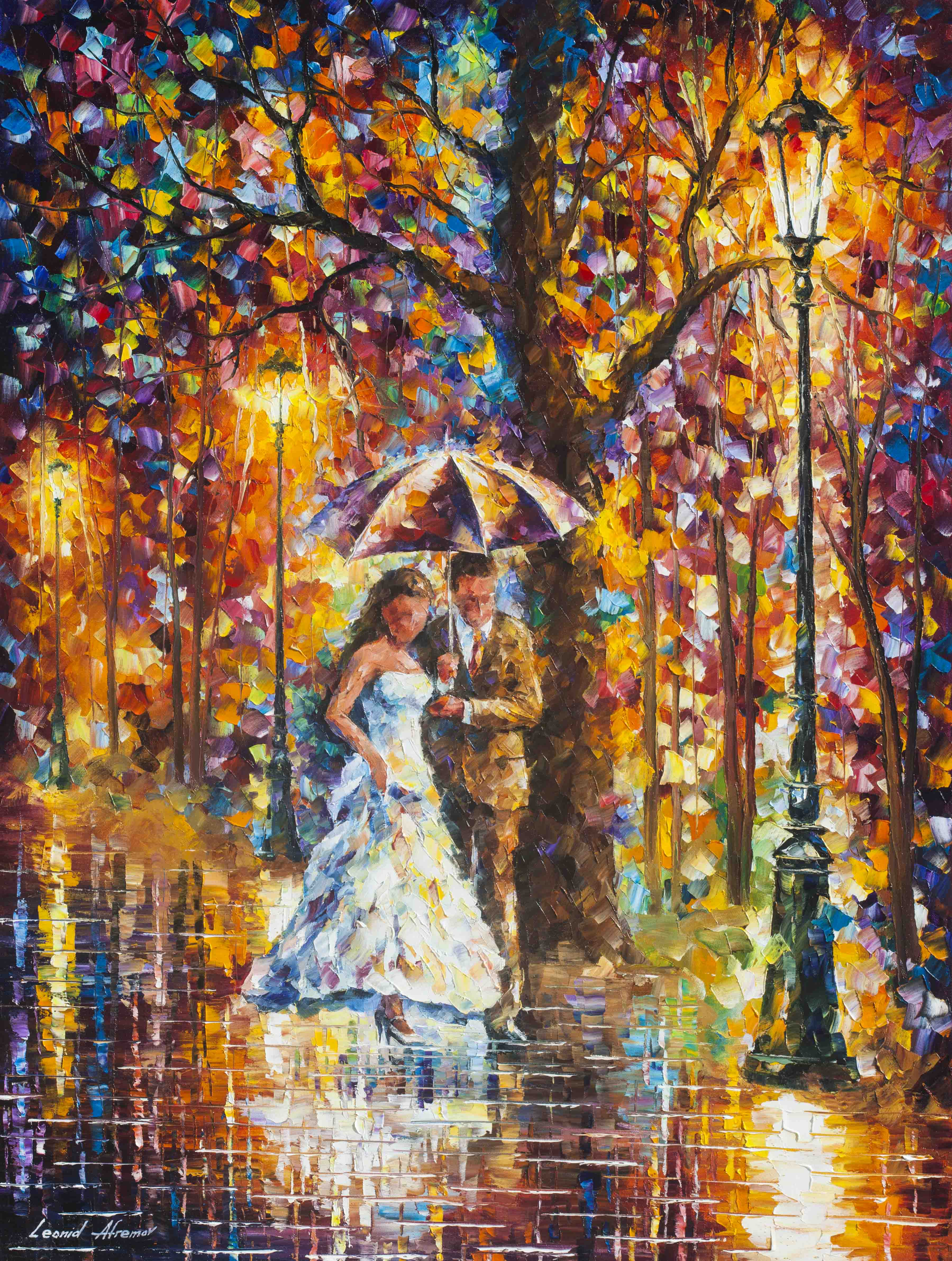 "DREAM WEDDING -  PALETTE KNIFE Oil Painting On Canvas By Leonid Afremov - Size 30""x40""  (75cm x 100cm) (offer)"