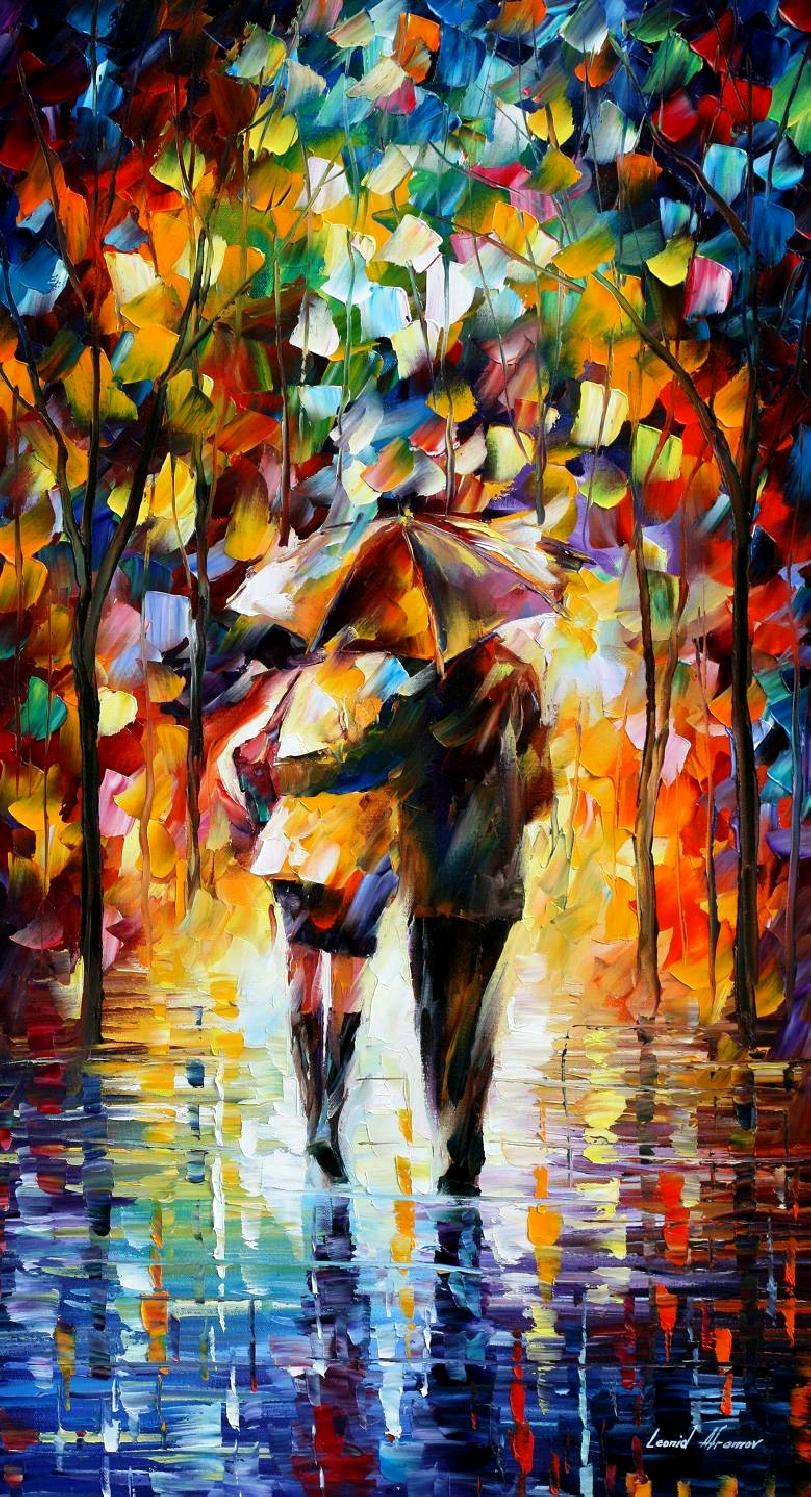 "BONDED BY THE RAIN 2 — PALETTE KNIFE Oil Painting On Canvas By Leonid Afremov - Size 20""x36"" (offer)"
