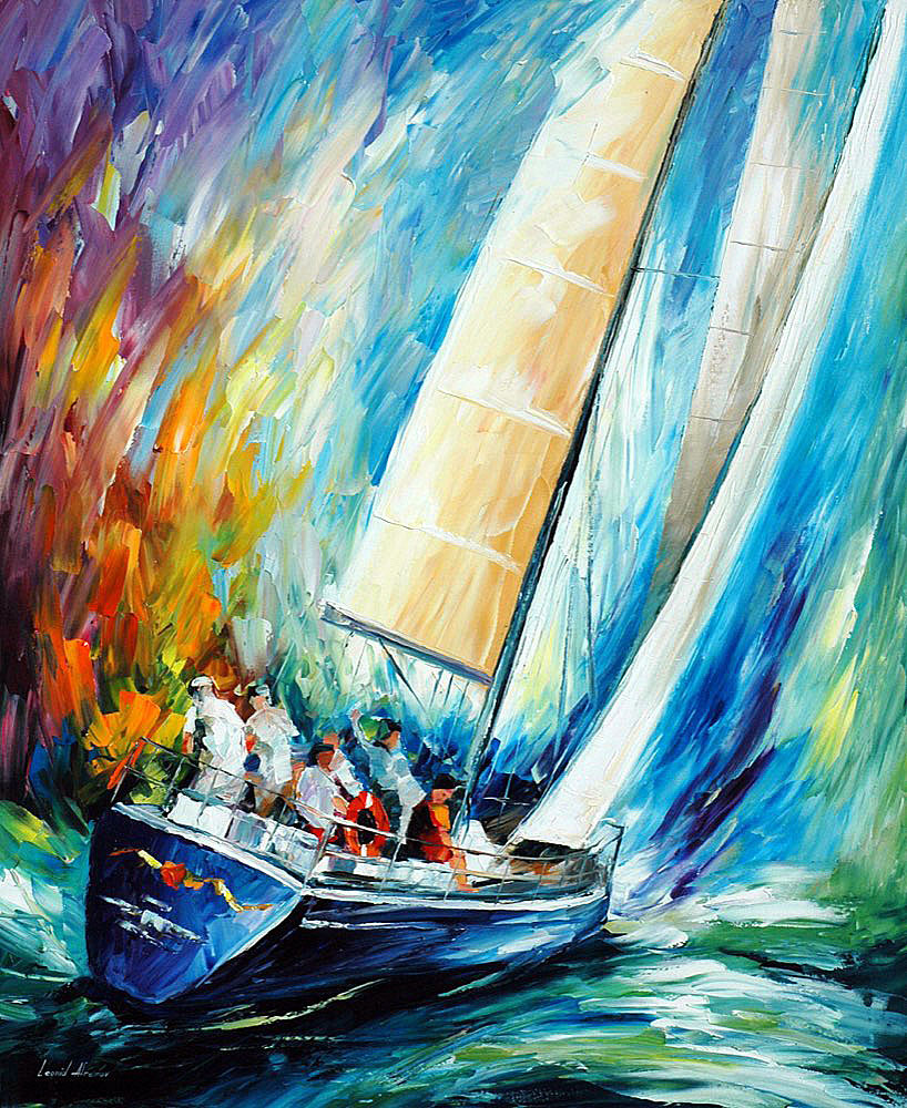 "REGATTA - WIND — PALETTE KNIFE Oil Painting On Canvas By Leonid Afremov - Size 36""x30"" (90cm x 75cm) (offer)"