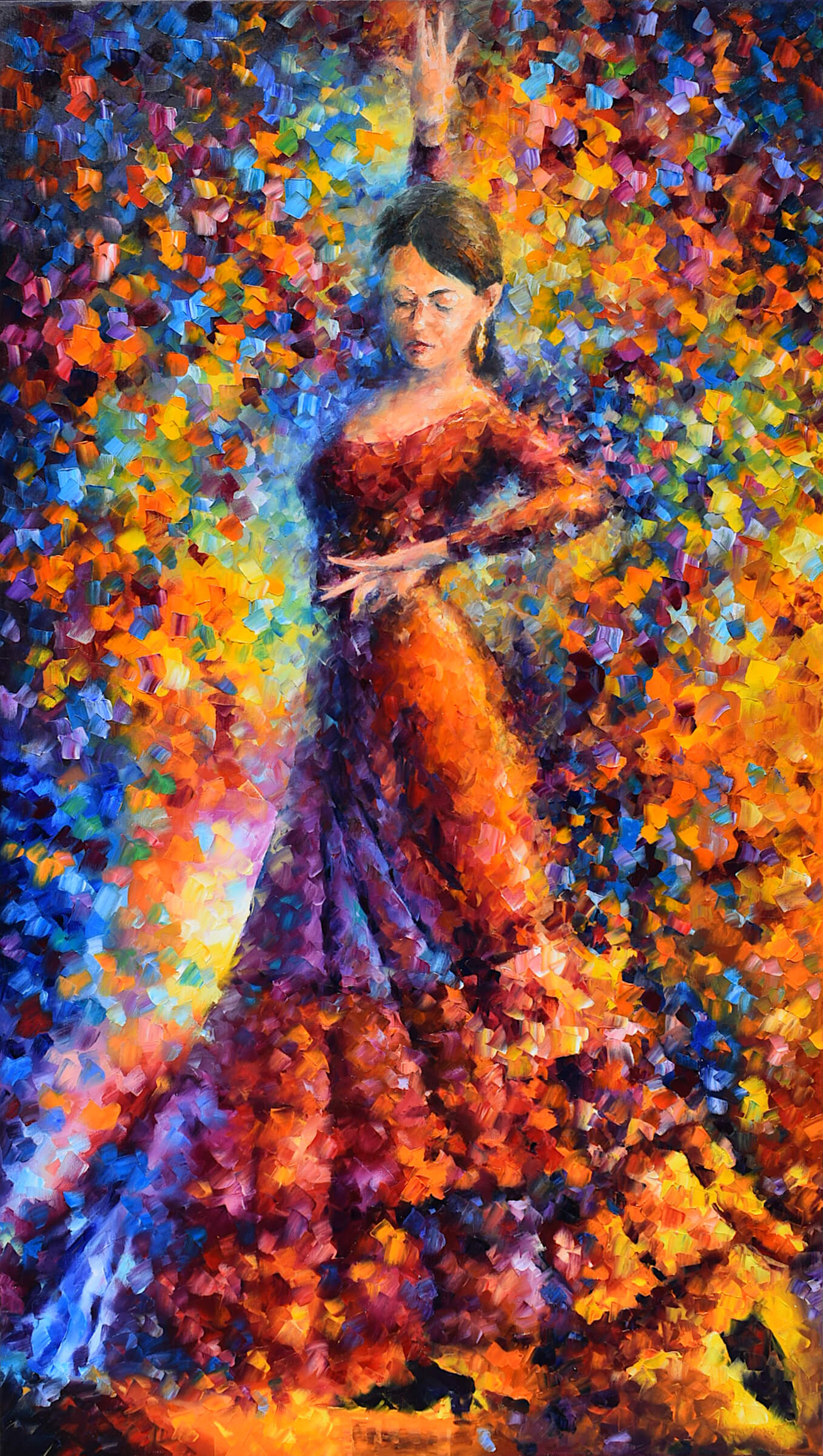 "FLAMENCO SOUL - Original Oil Painting On Canvas By Leonid Afremov - 32""X57""   (81cm x 144cm)"