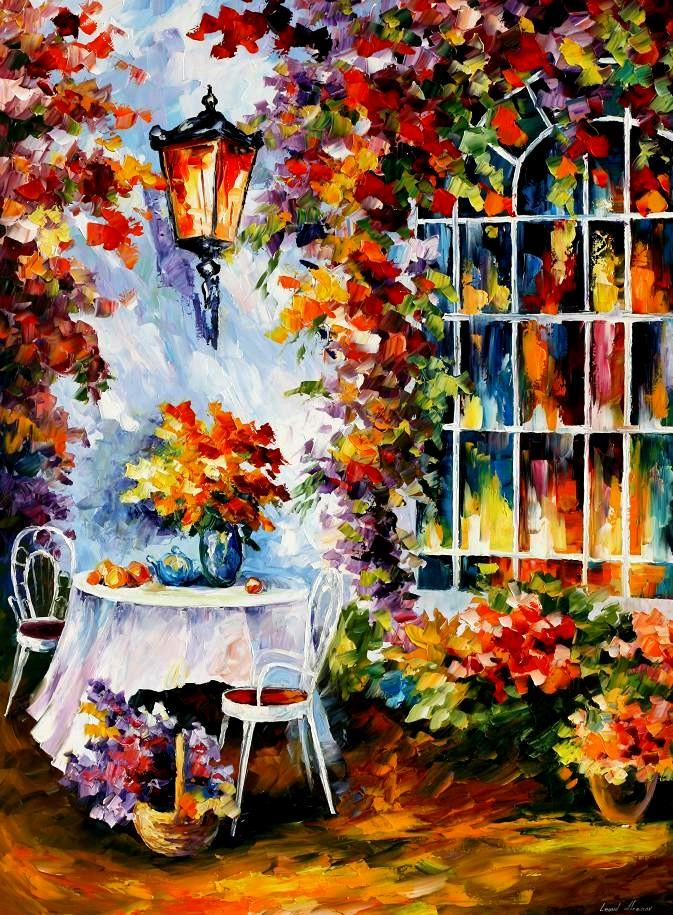 "IN THE GARDEN — Palette knife Oil Painting  on Canvas by Leonid Afremov  - Size 30""X40"" (75cm x 100cm) (offer)"