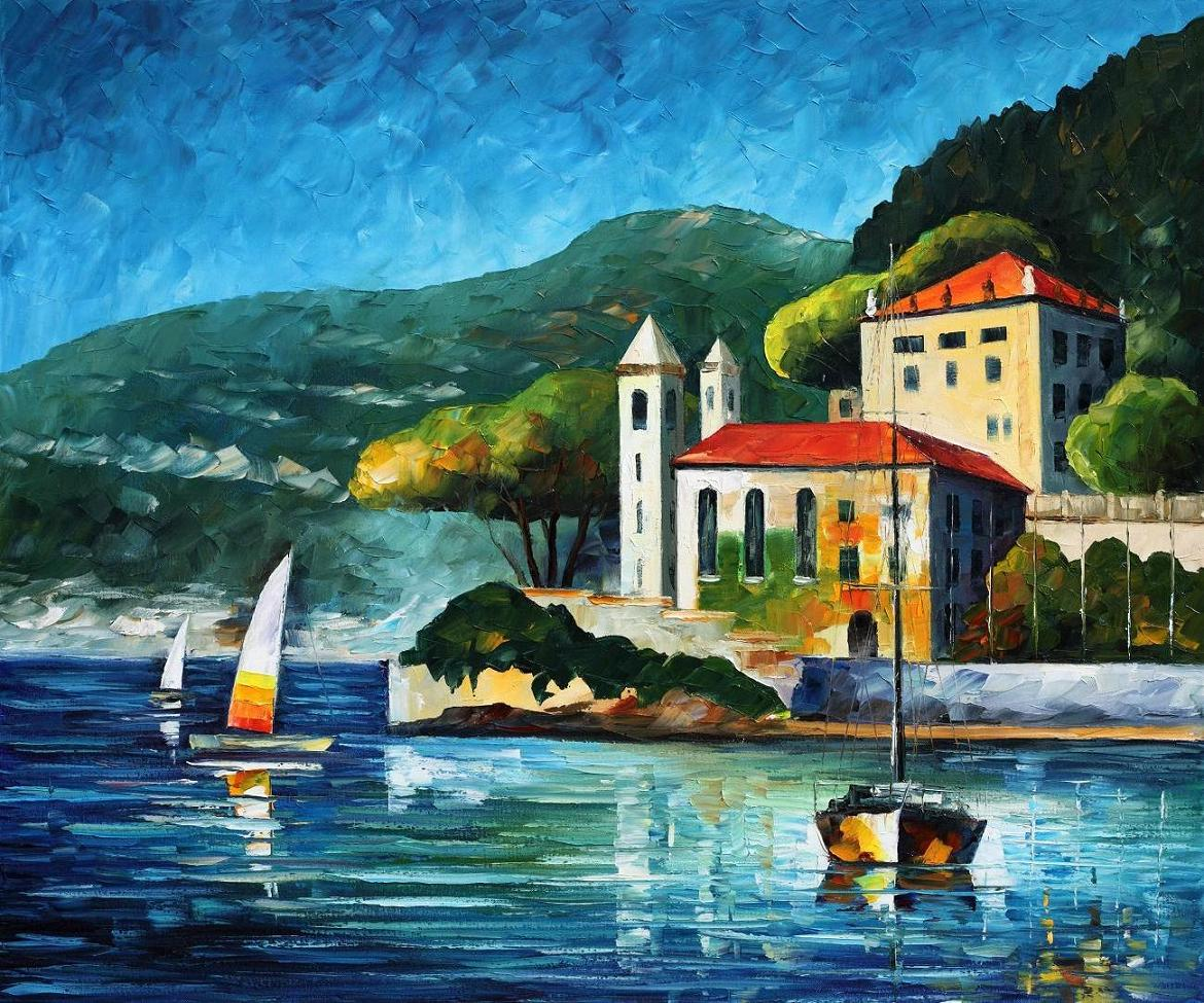 "ITALY,  LAKE COMO - VILLA BALBIANELLO —  PALETTE KNIFE Oil Painting On Canvas By Leonid Afremov - Size 36""X30"" (offer)"