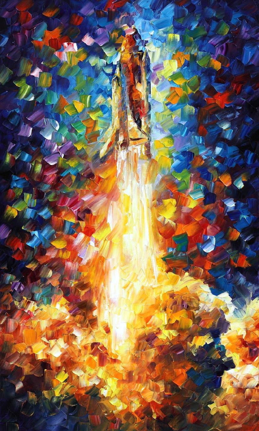 "SPACE SHUTTLE — PALETTE KNIFE Oil Painting On Canvas By Leonid Afremov - Size 24""X40"" (offer)"