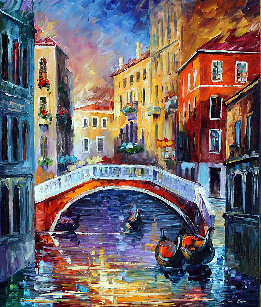 "VENICE MORNING — Original Oil Painting On Canvas By Leonid Afremov - Size 30""x36"" (75cm x 90cm)"