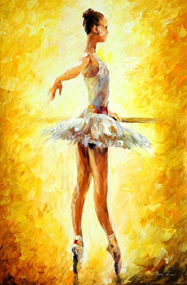 "IN THE BALLET CLASS — Palette knife Oil Painting  on Canvas by Leonid Afremov  - Size 24""x36"" (60cm x 90cm) (offer 1)"