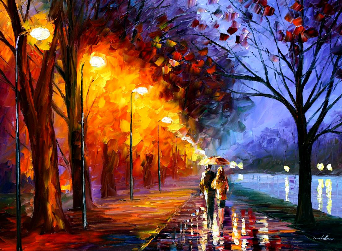"ALLEY BY THE LAKE - Palette knife Oil Painting  on Canvas by Leonid Afremov  - Size  40""X30"""