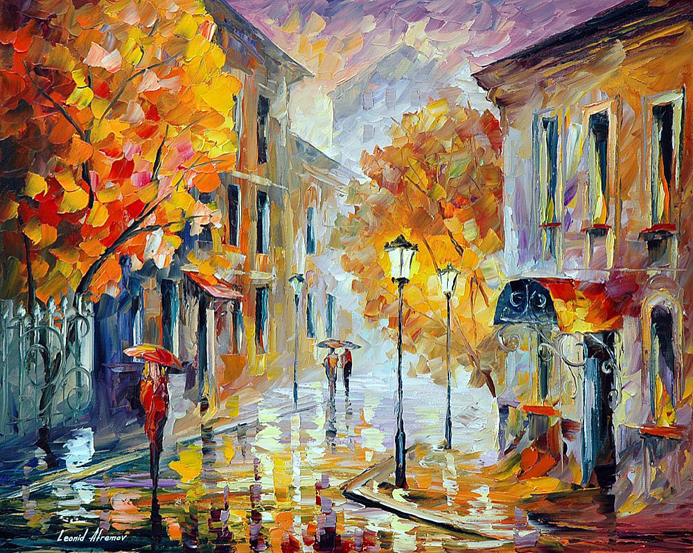 "ETUDE IN RED — Original Oil Painting On Canvas By Leonid Afremov - Size 30""x24"" (75cm x 60cm)"