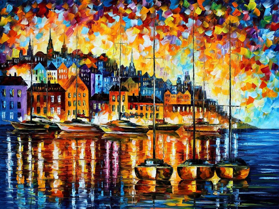 "HARBOR OF CORSICA — PALETTE KNIFE Oil Painting On Canvas By Leonid Afremov - Size 40""x30""(100cm x 75cm)  (offer)"