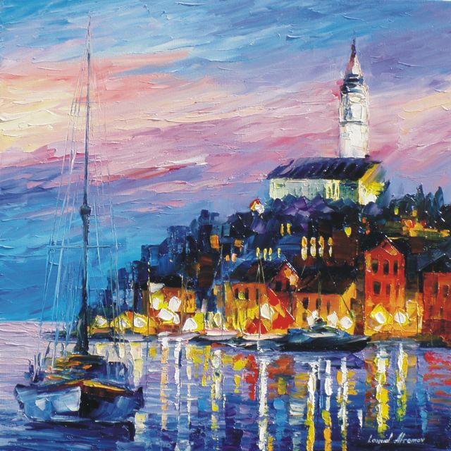 "BLUE-PORT—PALETTE KNIFE Oil Painting On Canvas By Leonid Afremov - Size 24""W x 24""H  (offer)"