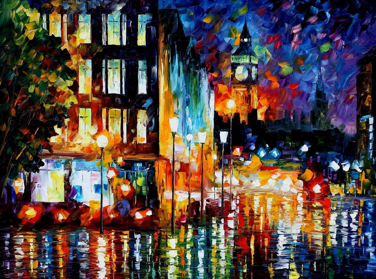 "LONDON'S LIGHTS — PALETTE KNIFE Oil Painting On Canvas By Leonid Afremov - Size 30""x40"" (CLONE)"
