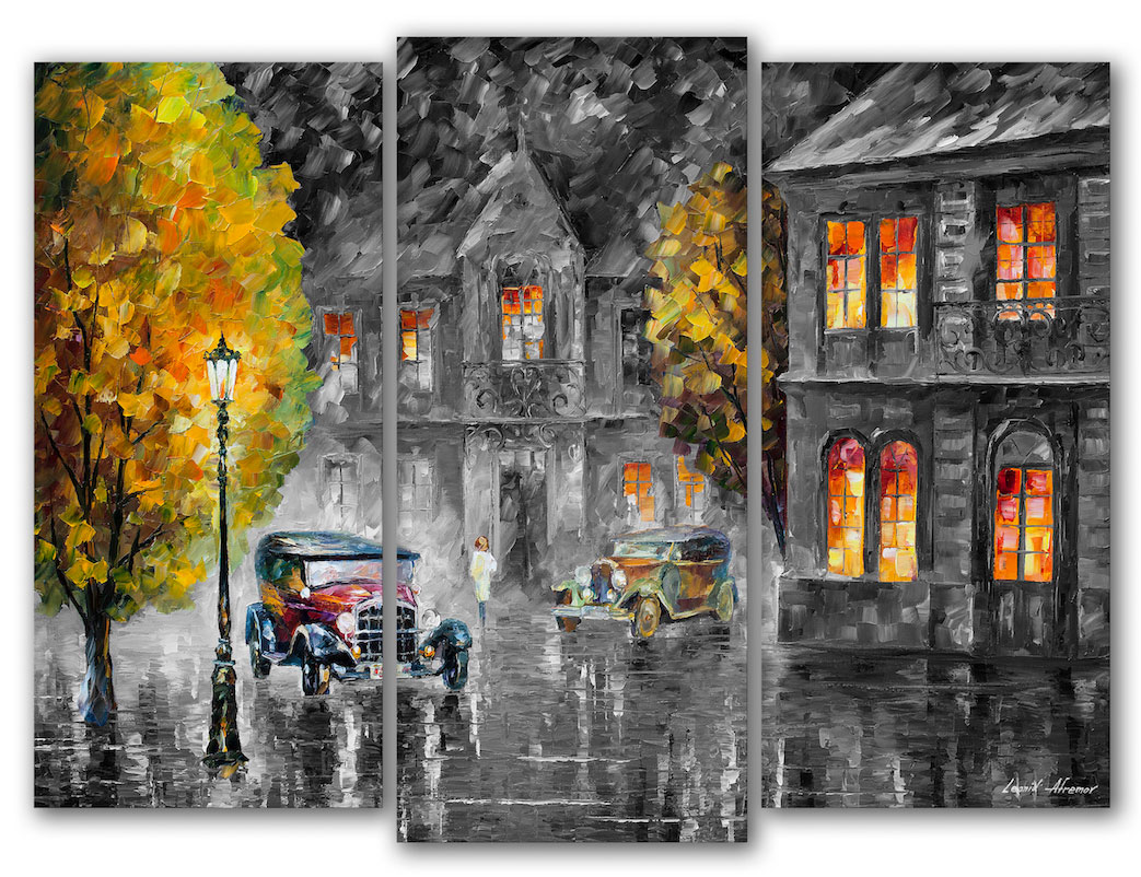 "Los Angeles 1930 - Black and White mixed Original Oil Painting On Canvas By Leonid Afremov - Size 30""x40"" (75cm x 100cm)"