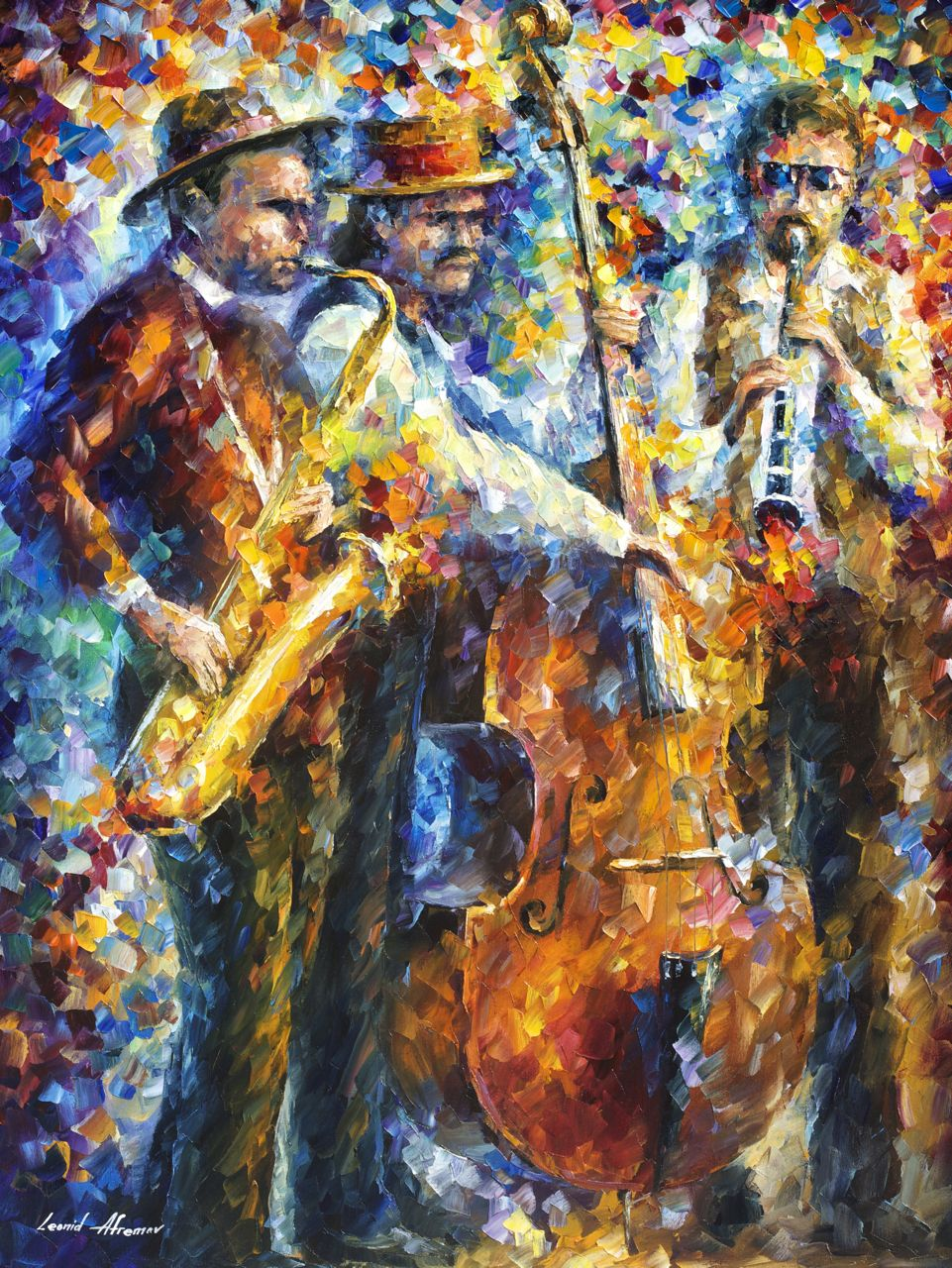 Jazz It Up Palette Knife Oil Painting On Canvas By Leonid Afremov