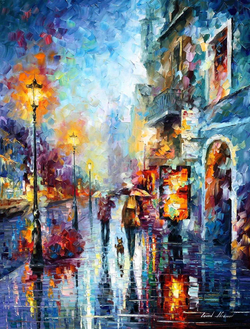 "MELODY OF PASSION - PALETTE KNIFE Oil Painting On Canvas Abstract Wall Art By Leonid Afremov - Size 30""X40""  (100cm x 75cm) (offer)"