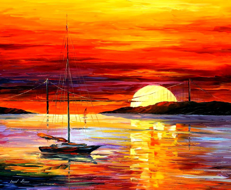 "GOLDEN GATE BRIDGE BY THE SUNSET — PALETTE KNIFE Oil Painting On Canvas By Leonid Afremov - Size 36""x30"" (offer)"