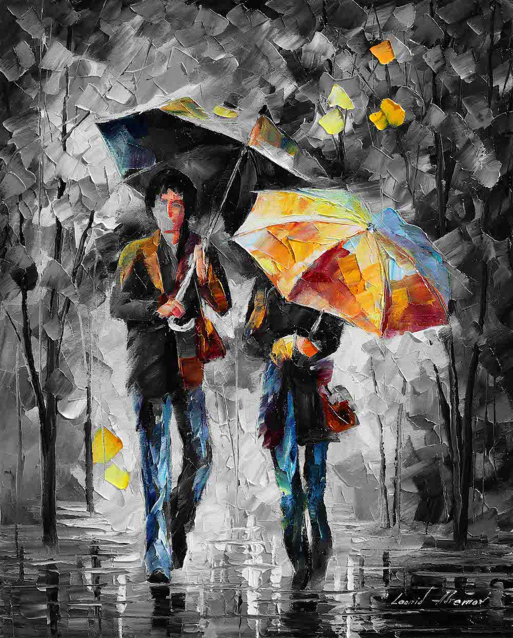 "UMBRELLAS OF THE NIGHT  — Mixed media oil on canvas and limited edition giclee On Canvas By Leonid Afremov - Size 20""x24""  (50cm x 60cm) (offer)"
