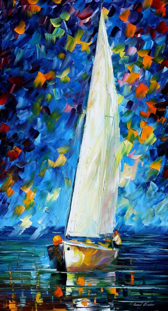 "WHITE SAIL — PALETTE KNIFE Oil Painting On Canvas By Leonid Afremov - Size 20""x36"" (offer)"