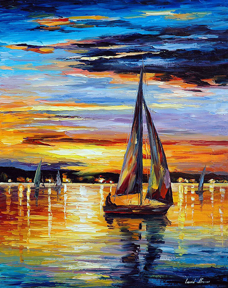 "INSIDE SEA'S CRAD Original Oil Painting On Canvas By Leonid Afremov - Size 24""x30"" (60cm x 75cm)"