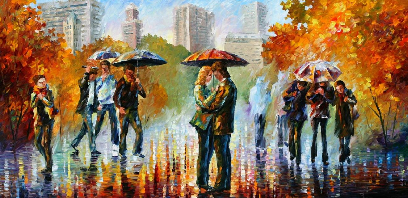 "CENTRAL PARK 3 — PALETTE KNIFE Oil Painting On Canvas By Leonid Afremov - Size 40""x20"" (CLONE)"