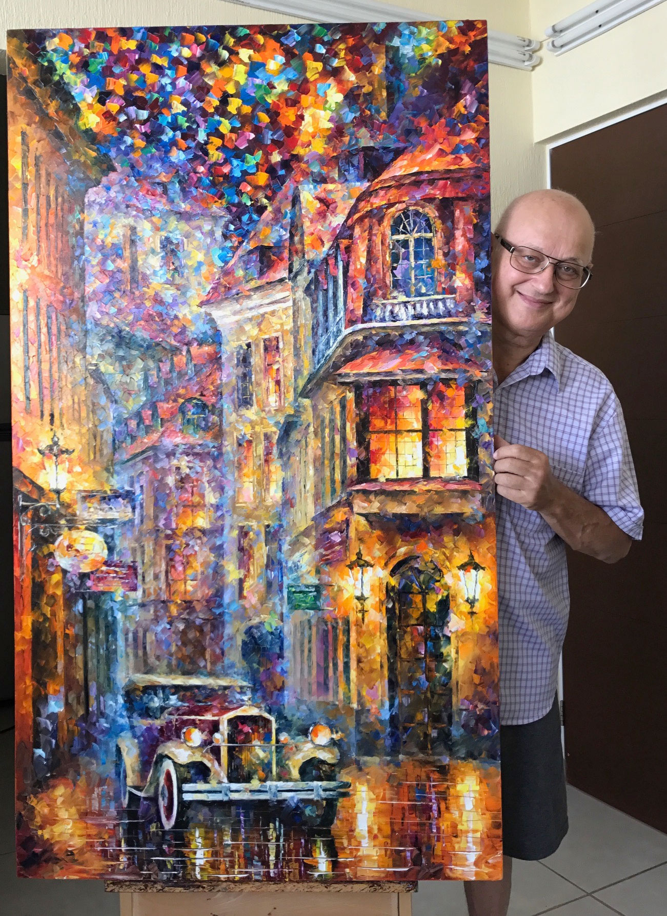 "VINTAGE FEELINGS — Palette Knife Oil Painting On Canvas By Leonid Afremov - Size 30""x48"" (75cm x 120cm)"