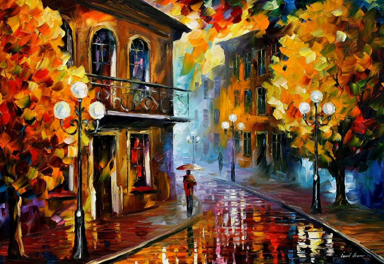 "FALL RAIN 2— PALETTE KNIFE Oil Painting On Canvas By Leonid Afremov - Size 36""x48"" (90cmx120cm) (offer)"