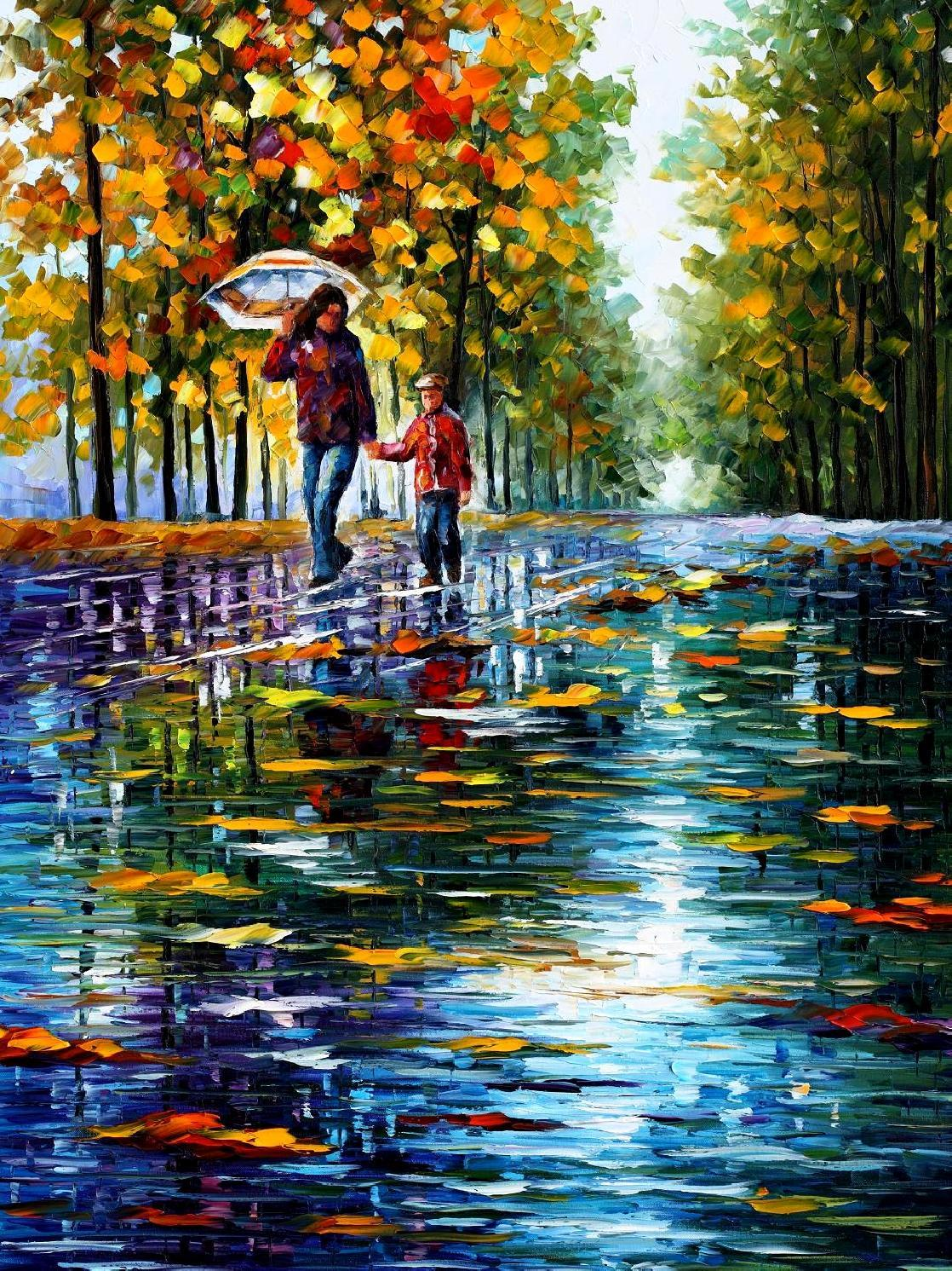 "STROLL IN AN AUTUMN PARK 2 — PALETTE KNIFE Oil Painting On Canvas By Leonid Afremov - Size 30""x40"" (75cm x 100cm) (offer)"