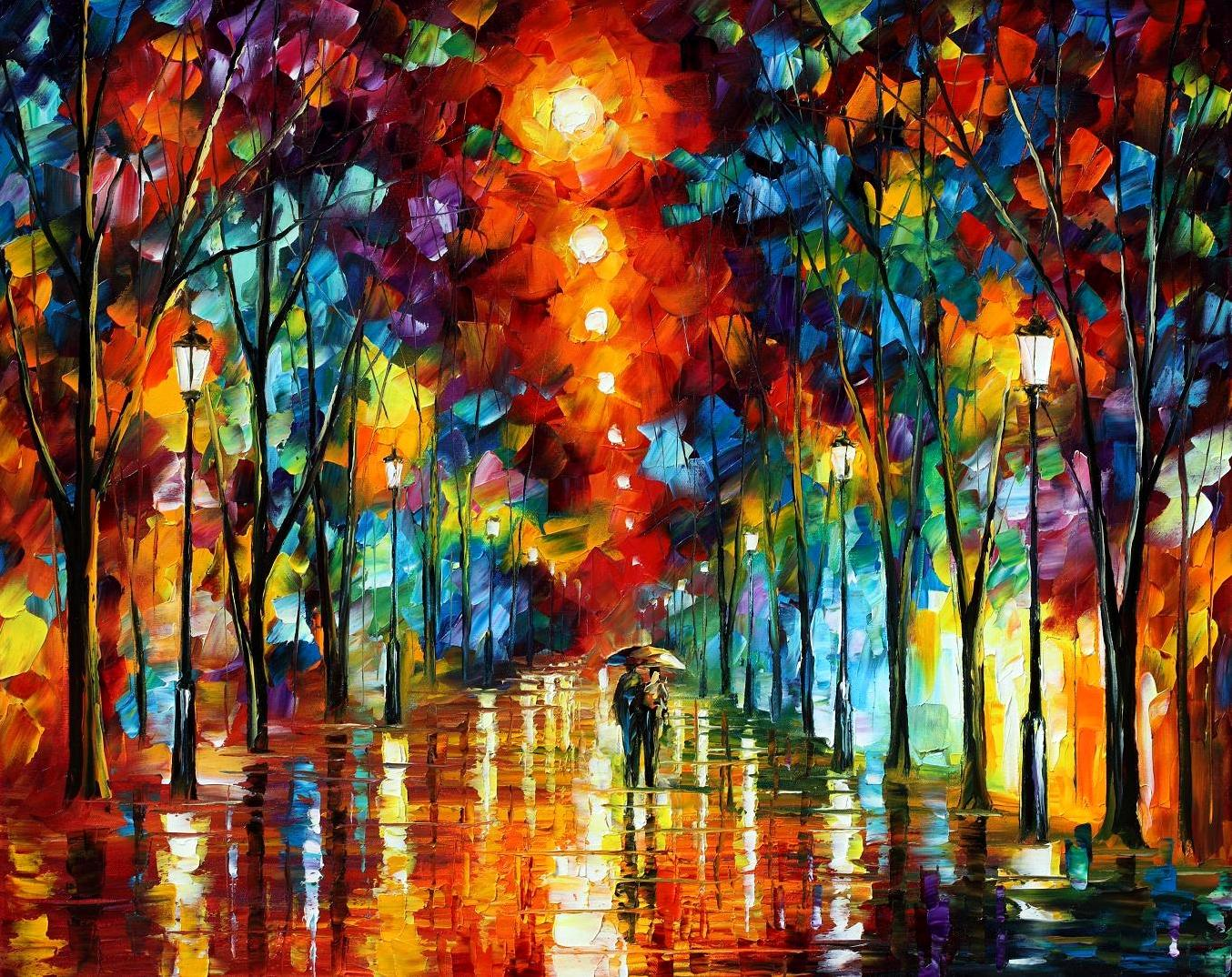 "RAINY NIGHT 2 — PALETTE KNIFE Oil Painting On Canvas By Leonid Afremov - Size 54""x40"""