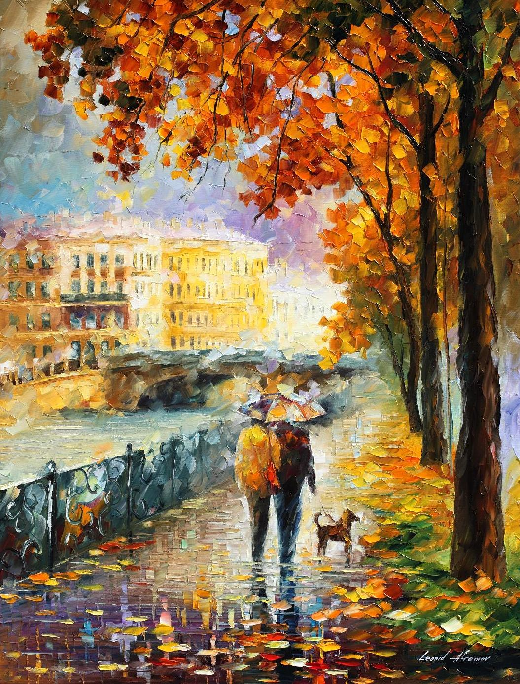 "UMBRELLA OF AUTUMN - Original Oil Painting On Canvas By Leonid Afremov - 30""x40"""