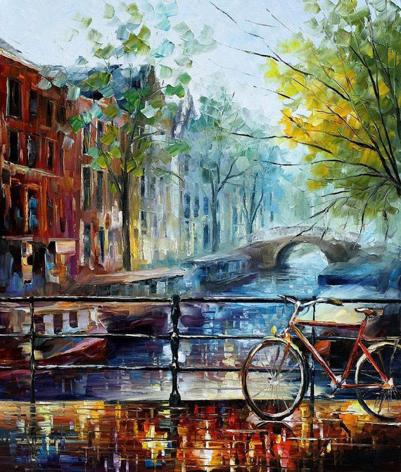"Bicycle in Amsterdam - Limited Edition Oil Painting On Canvas By Leonid Afremov - Size 30""X36"" (75cm x 90cm)"