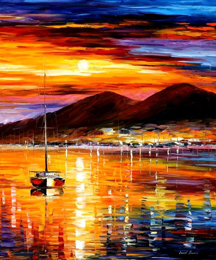 "NAPLES — SUNSET ABOVE VESUVIUS — PALETTE KNIFE Oil Painting On Canvas By Leonid Afremov - Size 30""x36"" (offer)"