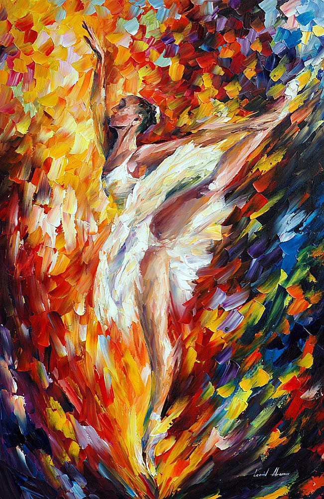 Ballet Dancer Palette Knife Oil Painting On Canvas By