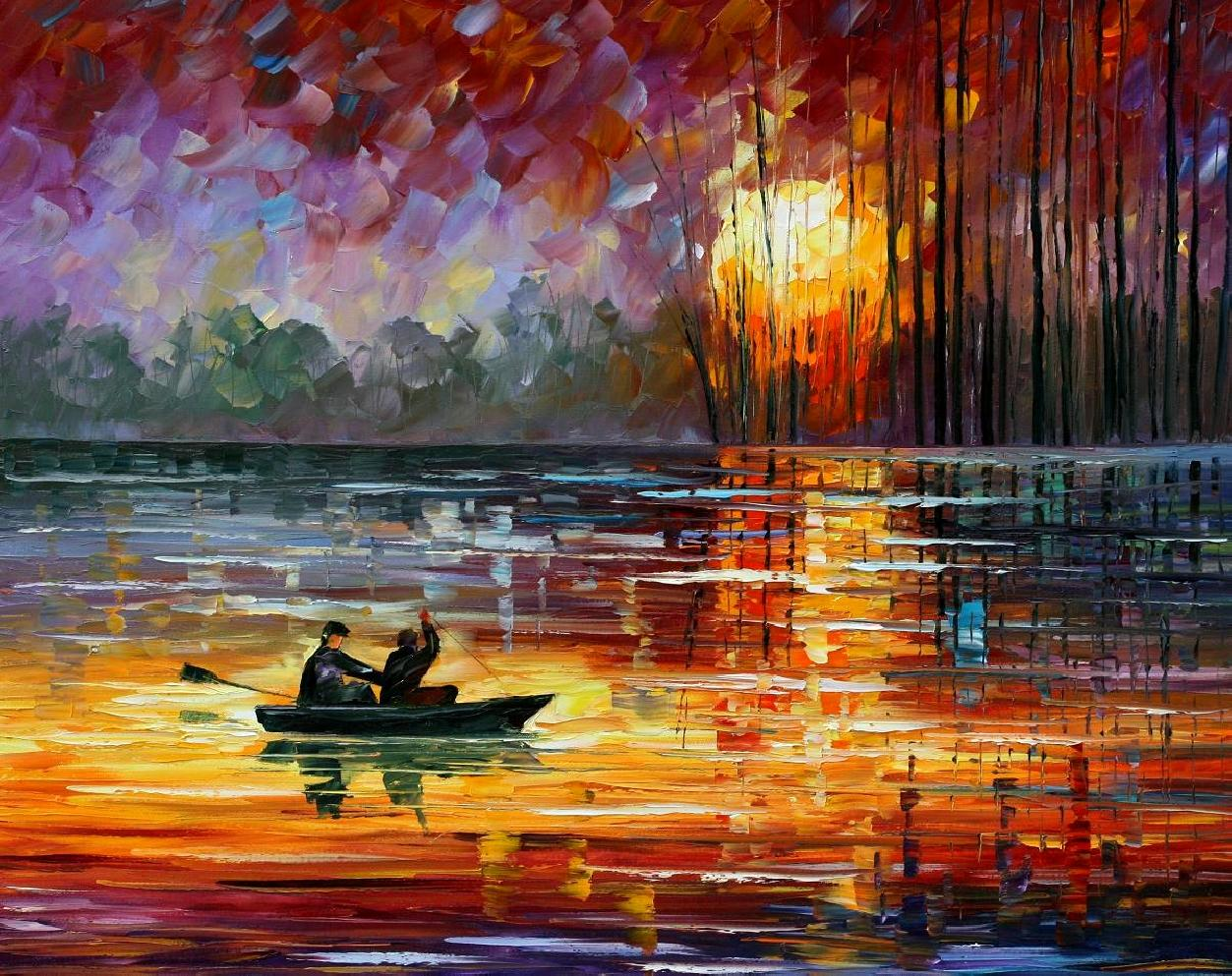 "NIGHT FISHING — Palette knife Oil Painting  on Canvas by Leonid Afremov  - Size 30""x24"" (offer)"