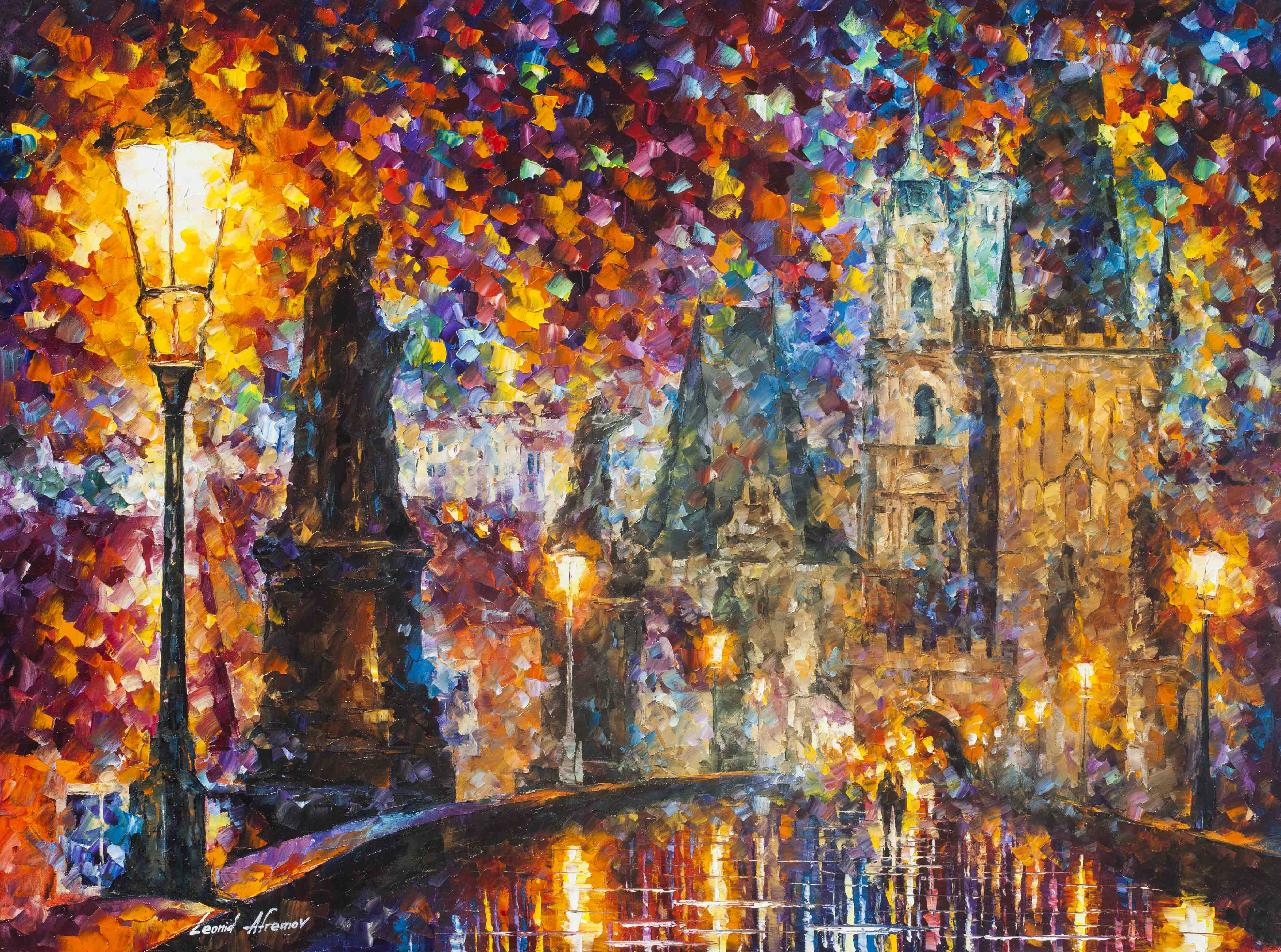"PRAGUE - NIGHT MAGIC  —  PALETTE KNIFE Oil Painting On Canvas By Leonid Afremov - Size 40""x30""  (100cm x 75cm) (offer)"