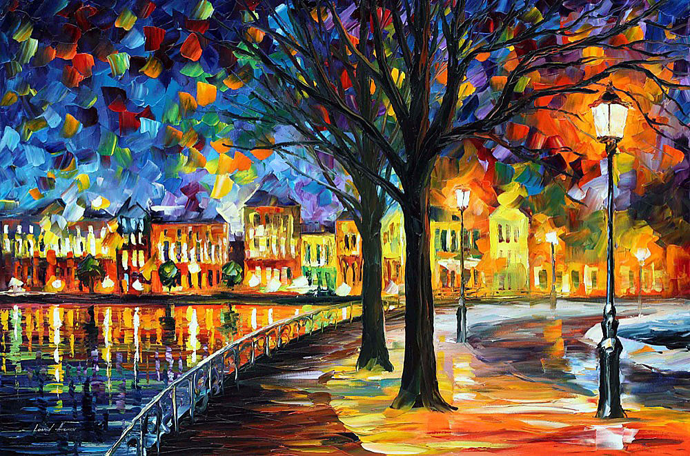 "PARK BY THE RIVER — PALETTE KNIFE Oil Painting On Canvas By Leonid Afremov - Size 36""x24"" (90cm x 60cm) (offer)"