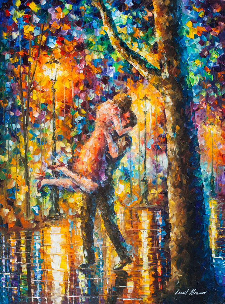 "JUMP KISS  — PALETTE KNIFE Oil Painting On Canvas By Leonid Afremov - Size 30""x40"" (75cm x 100cm) (offer)"