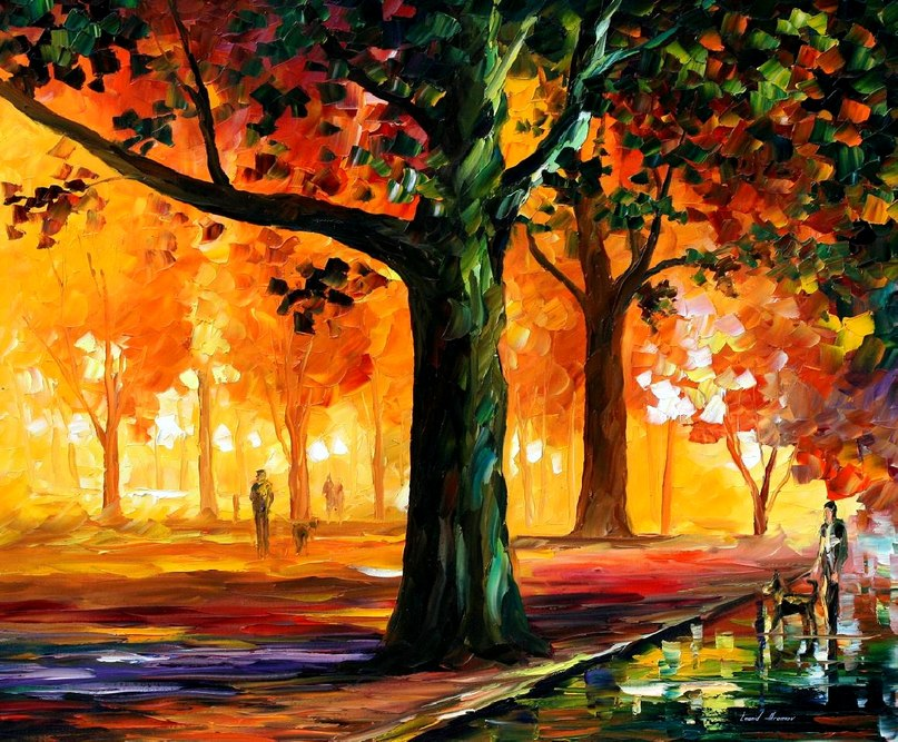 "THE LIGHT OF THE NIGHT - Original Oil Painting On Canvas By Leonid Afremov - Size 36""x30"" (90cm x 75cm)"